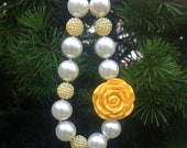 Yellow Flower and Pearl Chunky Bubblegum Beaded Necklace -Childrens Boutique Jewelry or Photography Prop. Lead/Nickel Free