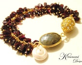 Garnet Labradorite and Freshwater Pearl Statement Bracelet with Rhinestone Magnetic Clasp In Gold - KTownesend Gemstone Bracelet