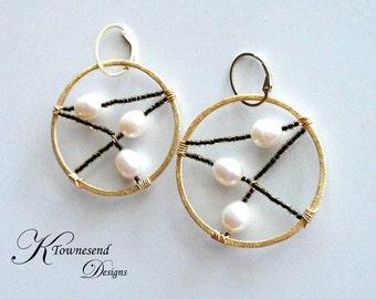 Beaded Gold Hoop Earrings Freshwater Pearl, Spiderweb Earrings, Dream Catcher Earring, Bead Hoop Earring KTownesend