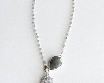 Labradorite Crystal Quartz Gemstone Tassel Necklace in Silver, Faceted Gemstone Pendant - KTownesend Bead Chain Jewelry