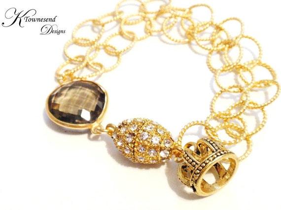 Smoky Quartz Gold Crown Charm Bracelet, Magnetic Rhinestone Clasp, Gemstone Jewelry, Gold Chain - KTownesend