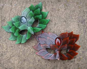 Green Man with Cabochon leather mask  - Made to Order