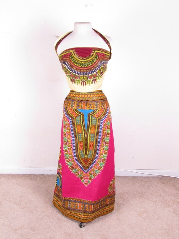 Ethnic Gypsy Hippie  Long Full Length Pretty Pink Dashiki Print Bustle Drawstring Waist Skirt one size