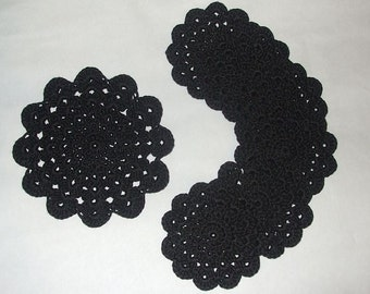 Crochet Cotton Doilies Coasters Set of 7 - Black