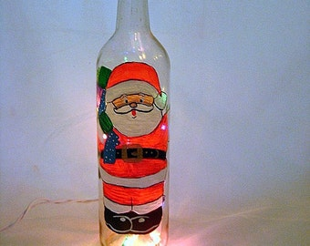 Hand Painted Recycled Wine Bottle with Santa Claus and Lights