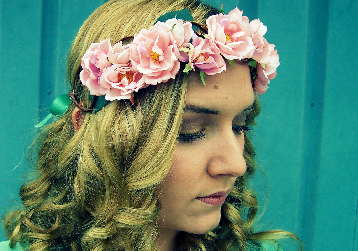 The Rose Romantic Pink Rose Flower Crown Wedding Hair