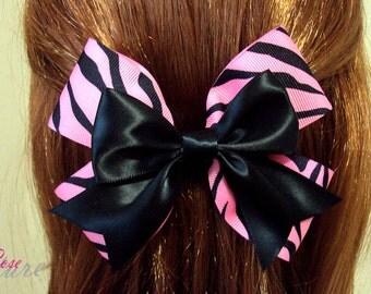 Pink Zebra Print Double Hair Bow Barrette