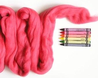 MERINO TOP ROVING / Pink Coral  1 ounce / merino roving for weaving, saori, tapestry, wet felting, cobweb scarves, needle felting, spinning