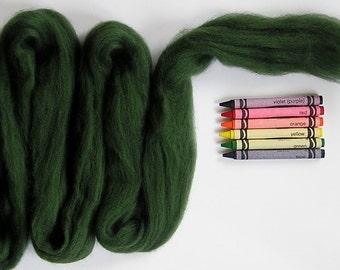 CORRIEDALE WOOL ROVING / Fern Green 1 ounce / corriedale roving for needle felting, wet felting, spinning yarn, fiber arts, weaving, props