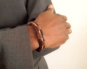 Leather and waxcord men's bracelet in differen shades of brown - gift for him