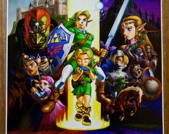 "Legend of Zelda Ocarina of Time 18 x 24"" Video Game Poster"