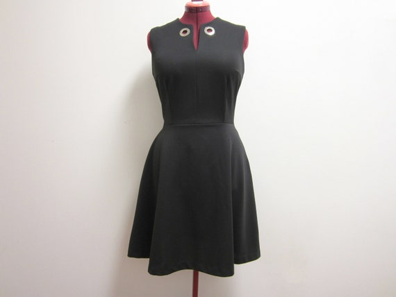 SALE: 1960s Black A-Line Sleeveless Shift Dress - Dark Mod Goth - Vegan - Medium/Large
