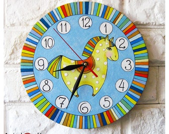 Rainbow Horse  Wall Clock, Modern wall clock with numbers, White wall clock, wood clock, white home decor, kids gift.