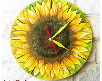 Sunflower Wall Clock, Modern Wall Clock Without Numbers, White Wall Clock,  Wood Clock