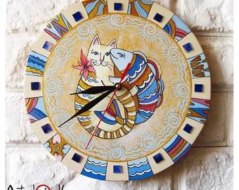 The Cat and Fish Wall Clock Home Decor for Children Baby Kid Boy Girl Valentine's, wall clocks handmade
