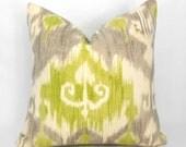 Decorative Pillow Cover ANY SIZE Richloom Dorrigan Ikat Celery