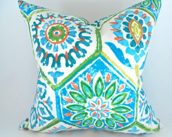 Indoor Outdoor Pillow Covers ANY SIZE Decorative Pillows Turquoise Pillow P Kaufmann OD Summer Breeze Poolside