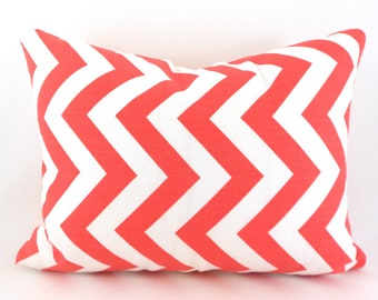60% CLEARANCE SALE  Coral and White ZigZag Chevron Lumbar Pillow