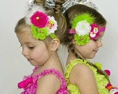 Lime, Fuscia, and White Shabby Trio With Clay Snowman, or Present, and Marabou Puff on Elastic Headband Christmas Photo Prop