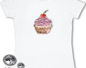 Ladies rhinestone cupcake T-shirt
