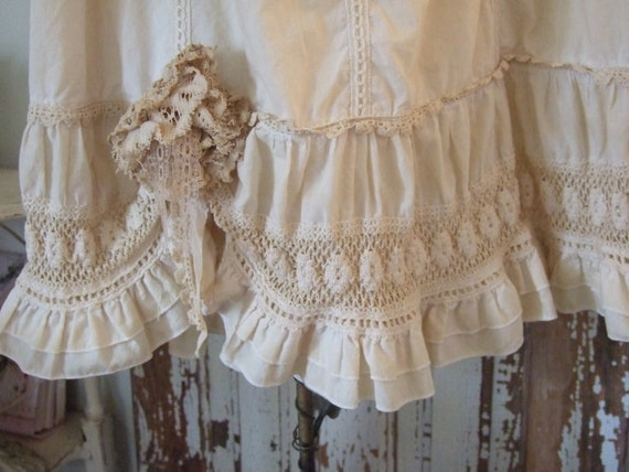 Tea Dyed Boho - Re-Styled  Cotton Prarie Skirt - Country - Cotton and Couture Vintage Style -  Hippieness