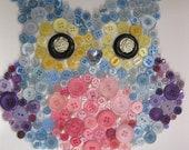 "Owl colourful button canvas 10""x10"" unisex. wall art"
