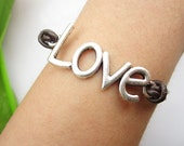 Love bracelet--antique silver charm bracelet,lovers pendant ,leather bracelet,alloy bracelet
