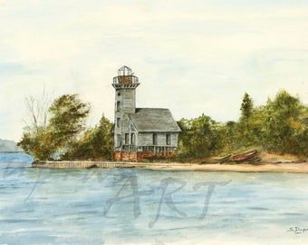 Munising Michigan Light House on Grand Island Lake Superior - a 16x20 Watercolor Limited Edition Fine Art Giclee Print