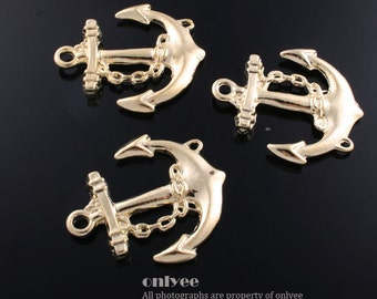 20pcs-27mmX32mm Gold plated zinc alloy Anchor pendant, connector, charm(K478G)