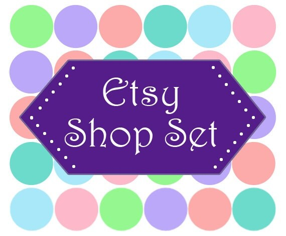 ASSEMBLE YOUR OWN Premade Etsy Banner & Shop Set 19 - Polka dots, purple, green, pink, blue