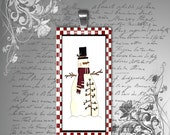 "GLASS domino pendant country snowman plaid holiday christmas winter womens necklace jewelry teen childrens 1"" x 2"""