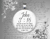 25mm JOHN 3 16 bible quote verse GLASS tile pendant charm Christian Christmas gift under 10