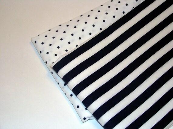 Dark Blue Black Stripes and Polka Dots Fabric Bundle Sale Two Yards