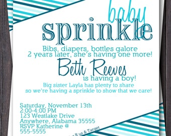 Ombre Baby Sprinkle/Shower Invitation/Invite.  Modern stripes.  Pink, Blue, Green, Custom any color.