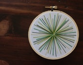 Starburst Embroidery Hoop Wall Hanging- Green (Small)
