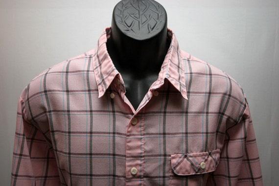 Men's Vintage Pink Plaid Levis Shirt Long Sleeve  XL