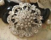 French flower wedding bridal rhinestone crystals dress belt hair floral bling brooch pin