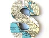 California Vintage Map Letter - Choose letter - 8 inches Tall, Home Decor