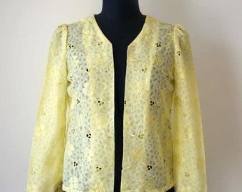 60's Long Sleeve Lime Lace Coat