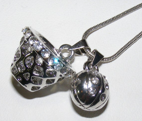 Basketball and Hoop Necklace Pave Style