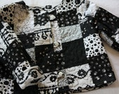 Girl's Quilted Jacket , 12 - 18 months ; Black White Jacket ; Children's Clothing ; Toddler Clothing
