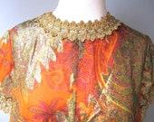 vintage 1960s gown b cohen saks fifth ave gold metallic orange paisley
