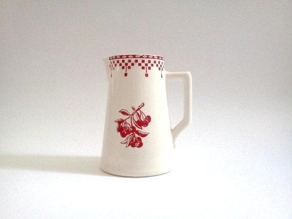 Vintage Milk Jug France Beige Red French