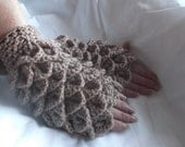 Fingerless Gloves Made in a crocodile stitch.in Purple and Light Brown.Christmas  present.