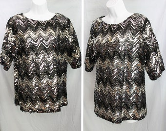 Black and Silver Sequined Vintage Top