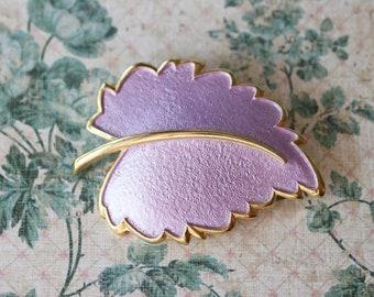 Large Vintage Light Purple Leaf Brooch