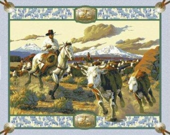 Cattle drive and roundup Wall Panel ......... fabric BTY