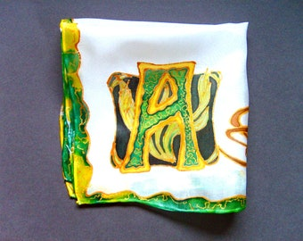 "Silk Original batik handpainting handkerchief Art Nouveau  monogram initial ""A"" .Ready to Ship"
