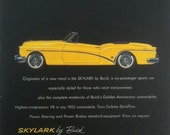 Vintage Buick Skylark Ad 1953 Yellow Convertible Original Wall Decor