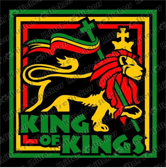 King Of Kings Rasta Lion Vinyl Decal 6 X 6 By Krittahstickers